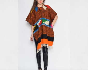 Vintage 70's Native American Blanket Wool Cape Poncho