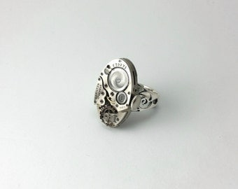 Steampunk Watch Ring Steampunk Ring Steampunk Jewelry Sterling Silver Ring Filigree Ring Vintage Ring Steampunk Watches Gothic Ring