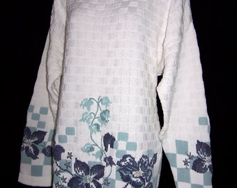 Laura Ashley vintage spring 93 collection, cotton floral knitted, all-seasons jumper, size L