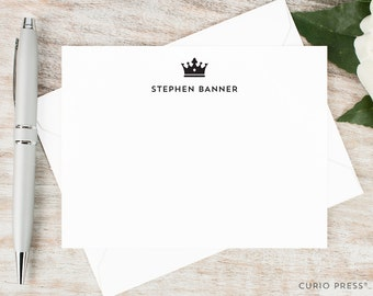 Personalized Stationery Set / Personalized Stationary Note Cards / Flat Notecards / Men's Women's Stationery / Thank You Note // ROYAL CROWN