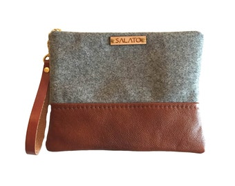 Wool and Leather Wristlet, Grey Wool Wristlet, Leather wristlet, oregon wool