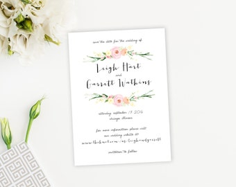 Watercolor Flowers Floral Save the Date Card, Postcard, Feminine