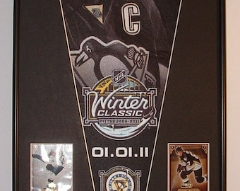 Pittsburgh Penguins, Sidney Crosby Pennant & Cards...Custom Framed!