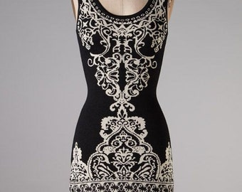 Tribal Print Black & Cream Sleeveless Dress