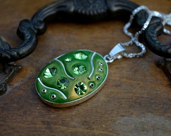 Green pendant necklace sterling silver