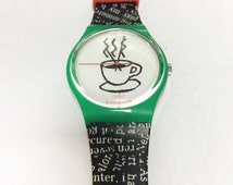 Vintage swatch watch, 90's collectors watch, coffee cappuccino, mens watch, womens watches retro
