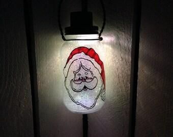 Jolly Old Santa, Mason Jar Solar Light, Hand Painted Mason Jar, Hanging Lantern, Outdoor Solar Light, Quart Size, Outdoor Lighting