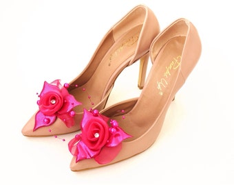 Hot Pink Flower Shoe Clips