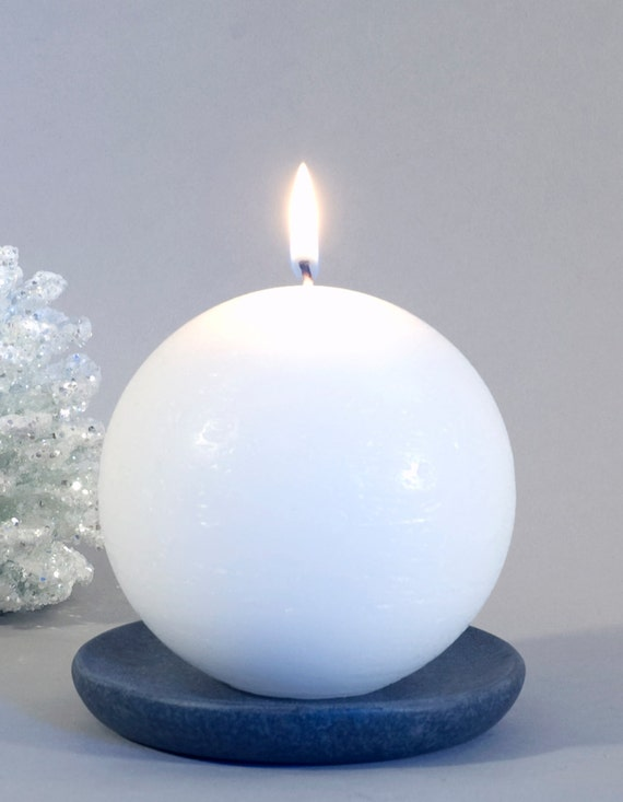 White ball candle pillar round by nordiccandle