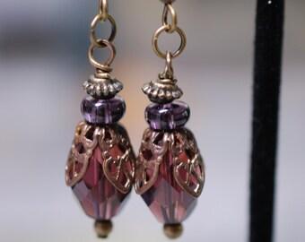 Amethyst glass bead earrings, antiqued brass