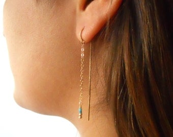 Threader Earrings, Gold And Turquoise Earrings, 14K Gold Filled Earrings, Turquoise Chain Earrings, Dainty Dangling Earrings, Long Earrings