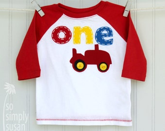 boy's tractor shirt, red tractor birthday, third birthday shirt, Mickey farm friends, tractor party, red gray raglan, one shirt two shirt