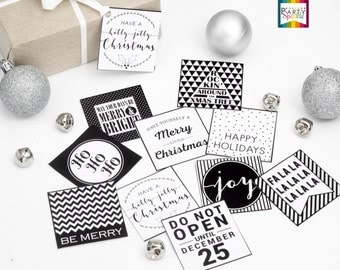 "INSTANT DOWNLOAD 2X2"" Square Christmas Gift Tags - Black and White - Digital Printable Pdf File"
