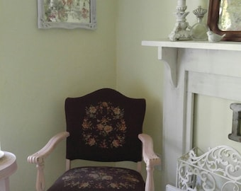 Vintage painted chair,Old chair,Vintage Needlepoint chair,Pink Chair,Entryway Chair,Accent Chair,Annie Sloan Antoinette chair,Bedroom chair