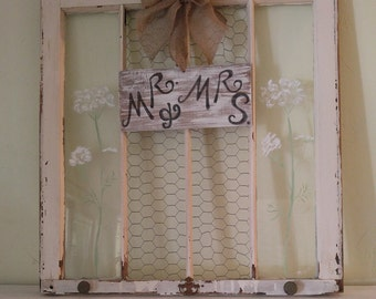 Old window,painted window,shabby window,mr and mrs sign,queen anne lace window,chicken wire window,old painted window,rustic wedding window