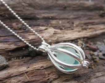 Aqua Sea Glass Jewelry Cage Sterling Silver Necklace