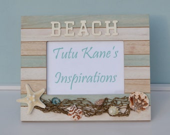 Nautical Seashell Beach Chic, Beach Decor, Shabby Chic, Vintage Shell Frame, Beach Decor Picture Frame 5x7