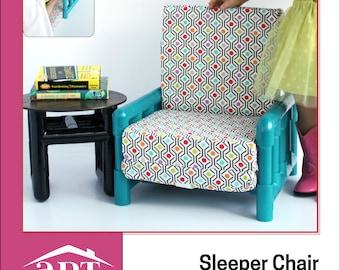 Pixie Faire AptOne8 Sleeper Chair plus Bonus Side Table PVC Pattern for 18 inch American Girl Dolls - PDF