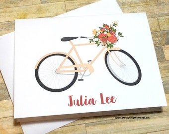 Personalized Stationery - Bicycle Stationery - Bicycle Stationery - Bike Thank You Cards, Bicycle,  Peach Bicycle Cards - Thank You DM183