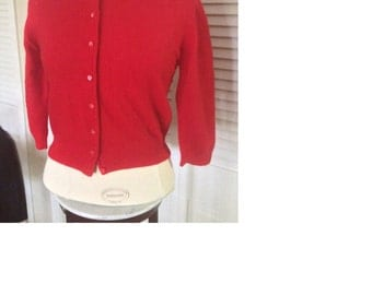 """Vintage 1960's """"Mad Men"""" style red, quarter-sleeve cardigan """"Penney's"""" brand"""