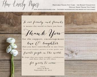Printable Wedding Thank You Card Sign - the Bailey Collection - Wedding Reception Thank You