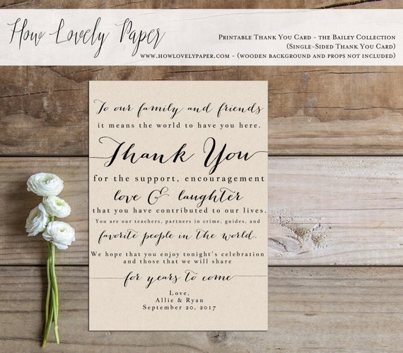 items similar to printable wedding thank you card sign