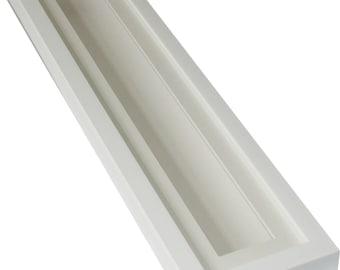 Deep shadow box display frame white, 20x4 for long thin 3D items.  19mm deep