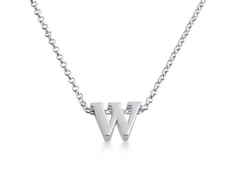 Initial Letter W Personalized Letters Serif Font Charm Pendant Necklace #925 Sterling Silver #Azaggi N0597S_W
