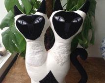 Siamese Cat shaped cushion pillow  hand made in Brighton Uk