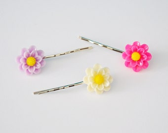 Set of 3 Assorted Color Flower Resin Bobby Pin