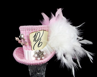 Pink and White Gingham Mad Hatter Mini Top Hat Fascinator, Alice in Wonderland, Mad Hatter Tea Party, Derby Hat