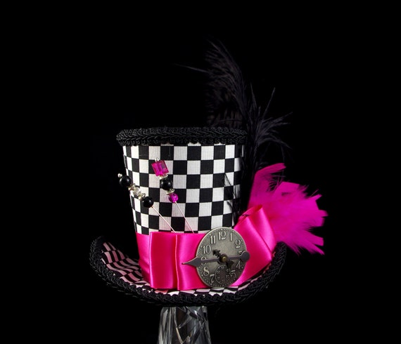 Black, White, and Hot Pink Checkered Large Mini Top Hat , Alice in Wonderland, Mad Hatter Tea Party, Derby Hat
