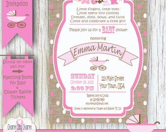 Baby Buggy Baby Shower Poem Invitation With Burlap, Pink Polka Dots  Invitation, Shabby Baby