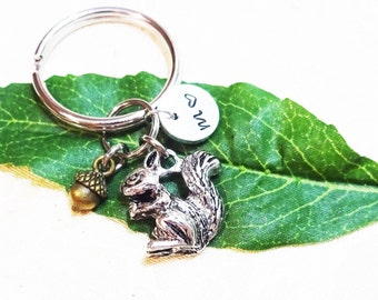 "3D SQUIRREL ACORN KEYCHAIN - with initial charm (fits 1-2 characters) See all photos and read ""item details"" below"