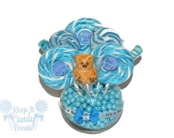 Small Round Baby Boy Bear Lollipop Centerpiece, Blue Baby Shower Ideas, Candy Decor for Baby Shower, Unique Baby Shower ideas, Baby Shower