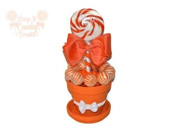 Medium Orange Lollipop Centerpiece, Orange Bridal Shower Candy, Centerpiece Candy Buffet for Sweet Sixteen, Quinceanera Table Decorations