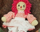 RESERVED FOR JACQUELYNE - Raggedy Ann 10 Inch Doll Wearing Pink Calico Dress