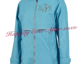 Monogrammed Raincoat Personalized Charles River Wave Blue New Englander Jacket Wind and Waterproof
