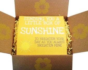 A sunshine gift box. Full of happy treats that will make someones day. Get Well Soon Gift, Sorry For Your Loss, Thinking Of You Gift.