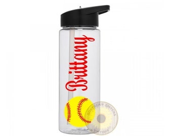 Personalized Water Bottle, Sports Bottle, Water Bottle, Softball, Little League, Baseball, Slow Pitch Softball, Fast Pitch, Gifts For Her