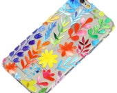 Watercolor Pressed Floral Pattern Clear Phone Case iPhone 6, SE, 6 Plus, 6S, 5, 5C, 5S, Galaxy S6, S7, Note 4, Note 5