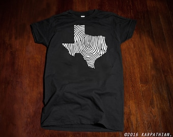 Texas fingerprint ladies Jr fit or mens t-shirt