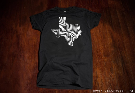 Texas fingerprint ladies Jr fit or mens t-shirt