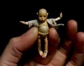 Tiny wood bjd 1/24 scale one of a kind wooden jointed doll