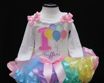 Pastel Balloons with Birthday Number  1st Birthday Tutu Outfit 2 pieces includes top and tutu only