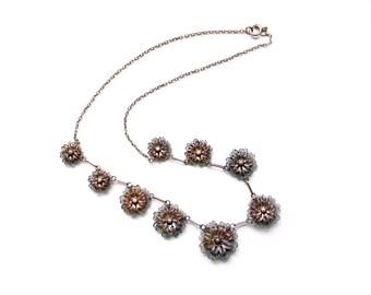 1940s Portuguese  gilt filigree floral necklace hallmarks 833 silver Portugal
