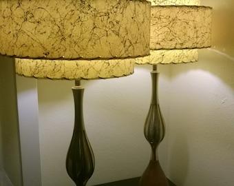 Mid Century Style 3 Tier Fiberglass Lamp Shade Retro Modern Yellow