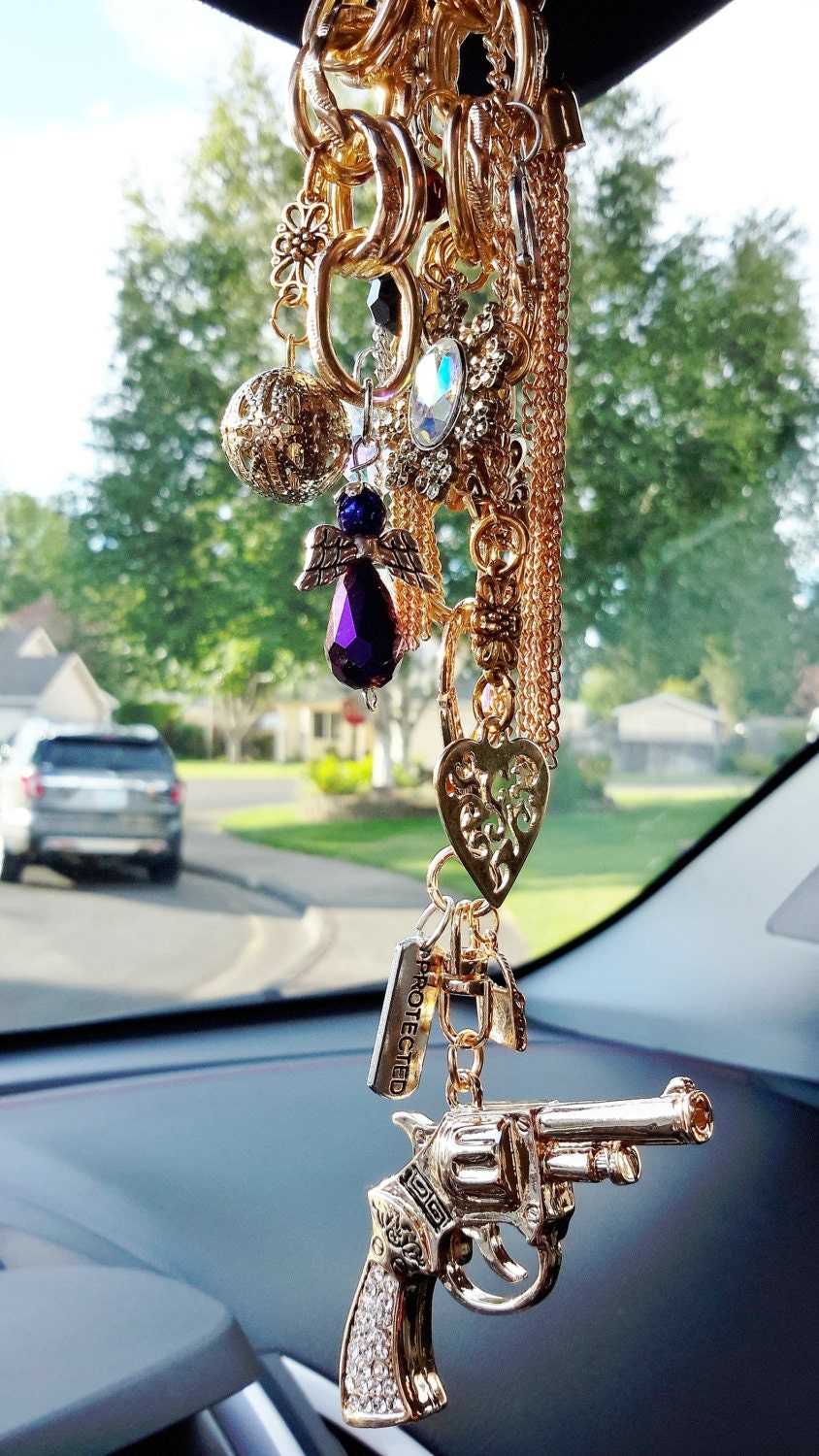 Girls With Guns Rear View Mirror Dangle Gold Details On