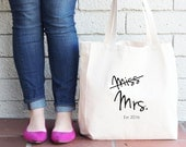 Bride-to-Be Custom Tote Bag - Miss to Mrs - Newlywed Gift for Bride Beach Bag Honeymoon Beach Bag Personalized Tote Bridal Shower Gift