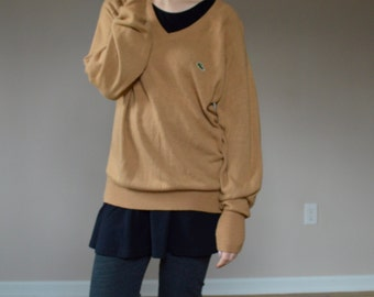 Tan Izod LACOSTE Classic V Neck Pullover Sweater Large